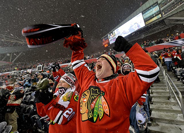 The game at Soldier Field on March 1 drew a sellout crowd of 62,921 for the hometown Blackhawks' battle with the Pittsburgh Penguins. The fans didn't seem to mind the heavy snow, swirling wind, and 17-degree cold.