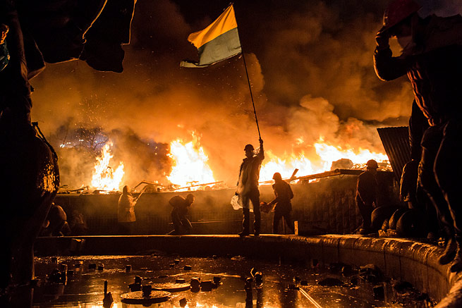Anti-government protesters guard the perimeter of Independence Square last month in Kiev, Ukraine.