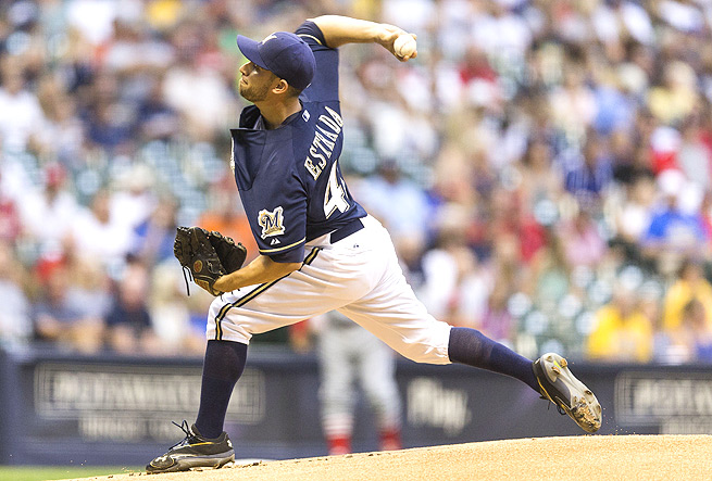 Brewers' Marco Estrada has a fastball-changeup combination that keeps hitters on their toes.