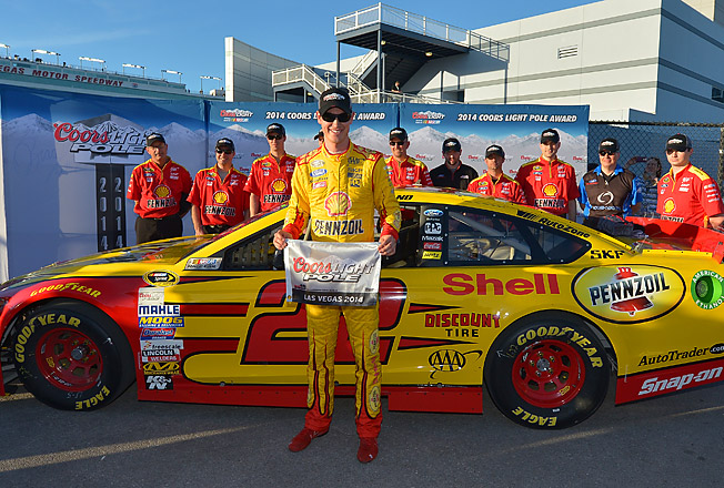 Logano will start Sunday's race on the front row next to Penske Ford teammate Brad Keselowski.