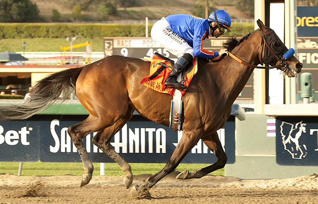 Game On Dude became the first horse to ever win the Santa Anita Derby three times.