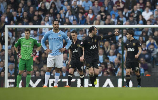 Manchester City were ousted from the FA Cup by Wigan for the second consecutive year.