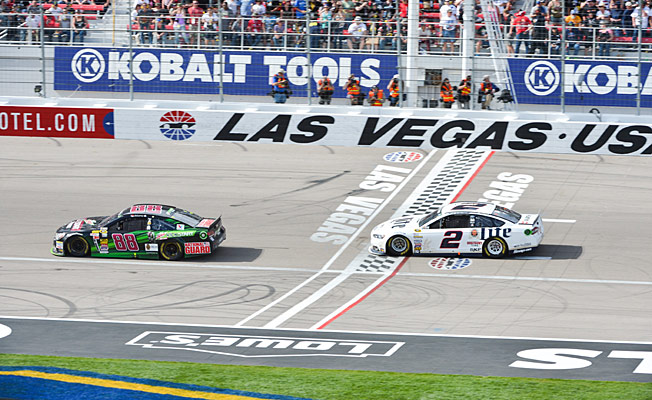 Las Vegas is a natural spot to gamble, but Dale Earnhardt came up snake-eyes on the last lap.
