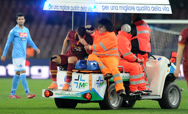 Netherlands and AS Roma midfielder Kevin Strootman can't hide his emotion after suffering a knee injury that will almost definitely rule him out of the World Cup.