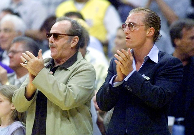 Jack Nicholson and Matthew McConaughey cheer for the Los Angeles Lakers during Game 2 of the NBA Finals against the Indiana Pacers on June 9, 2000 at Staples Centers in Los Angeles.