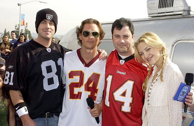 Carson Daly, Matthew McConaughey, Jimmy Kimmel and Kate Hudson pose together during MTV's First Annual Super Bowl Tailgate Spectacular prior to Super Bowl XXXVII in San Diego on Jan. 23, 2003.
