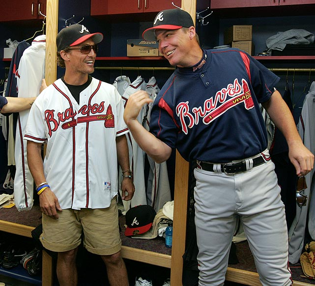 Matthew McConaughey shares a laugh with Atlanta Braves third baseman Chipper Jones during Spring Training on Feb. 22, 2005 in Orlando, Fla.