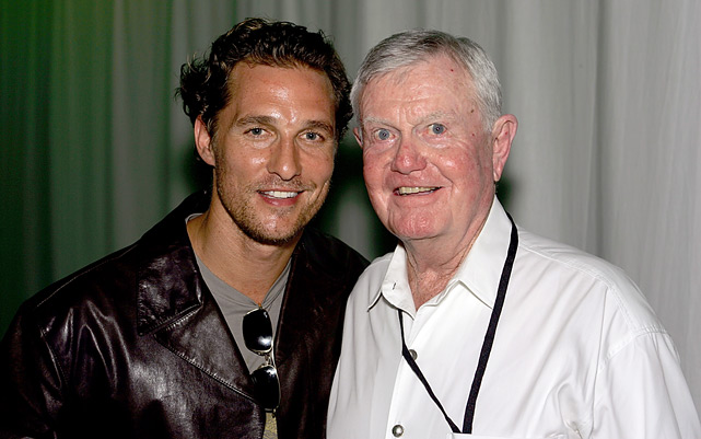 Matthew McConaughey poses with former University of Texas football coach Darrell K. Royal during the Texas Film Hall of Fame Awards at Austin Studios in 2006.