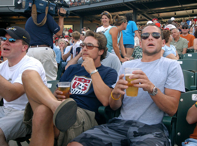 Matthew McConaughey and Lance Armstrong watch Roger Clemens pitch for the Houston Astros' AAA team, Round Rock Express, on June 16, 2006 at The Dell Diamond in Round Rock, Texas.