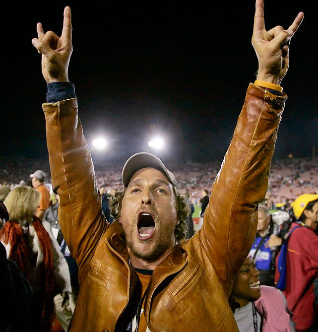 Matthew McConaughey celebrates the Texas Longhorns' 41-38 victory over USC in the National Championship game at the Rose Bowl in Pasadena, Calif., on Jan. 4, 2006.