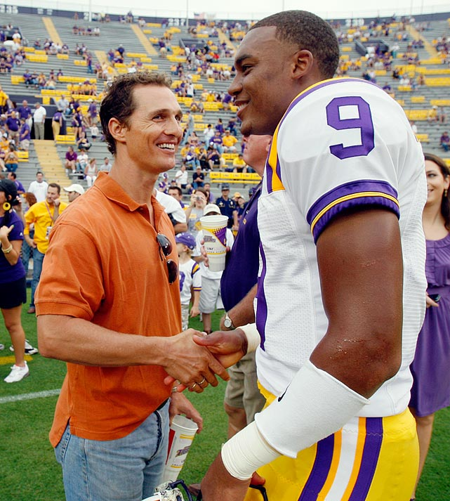 Matthew McConaughey and LSU quarterback Jordan Jefferson shake hands before the start of the LSU-Vanderbilt game in Baton Rouge, La., on Sept. 12, 2009.
