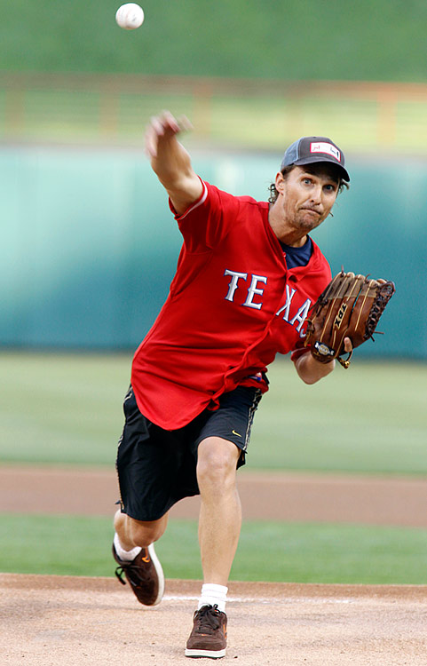 Matthew McConaughey throws out the ceremonial first pitch for the Texas Rangers game against the New York Yankees at Rangers Ballpark in Arlington, Texas, on May 6, 2011.