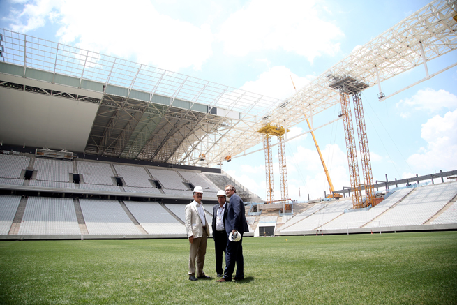 Construction continues at Arena de Sao Paulo, where FIFA general secretary Jerome Valcke visited in January. Two workers died there late last year after the roof collapsed following a crane accident.