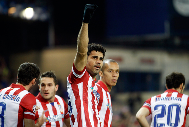 Diego Costa's spectacular early goal and late second against AC Milan helped Atletico Madrid reach the Champions League quarterfinals.