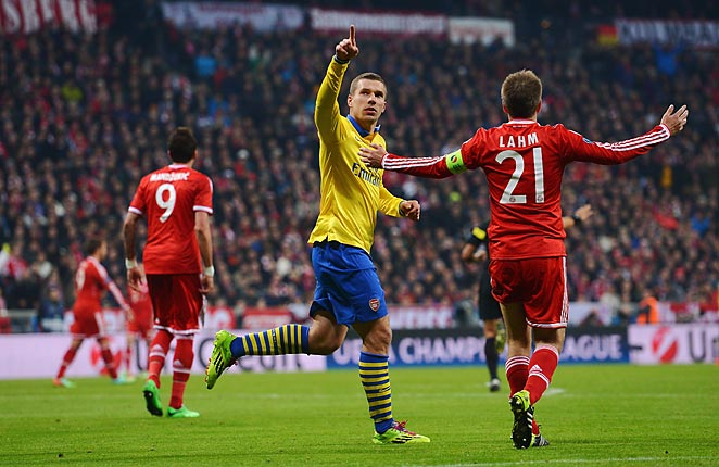 Lukas Podolski gave Arsenal a glimmer of hope with a goal in a draw with Bayern Munich on Tuesday.