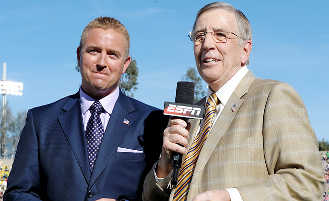 Brent Musburger (right, and pictured with Kirk Herbstreit) will be the SEC Network's lead announcer.