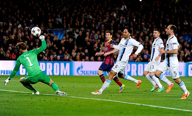 Lionel Messi scored the opening goal in Barcelona's 2-1 win over Manchester City on Wednesday.