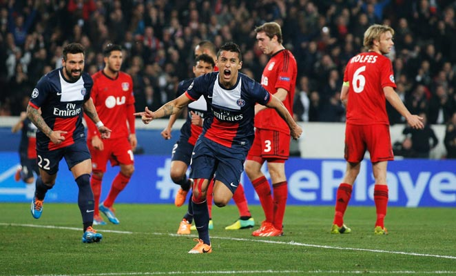 Marquinhos scored PSG's first goal in a 2-1 win over Bayer Leverkusen in the teams' second leg.