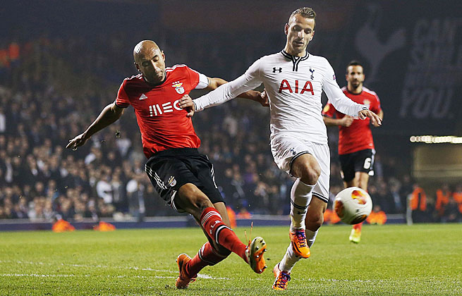 Defender Luisao scored two second-half goals to help lead Benfica over Tottenham Hotspur 3-1.