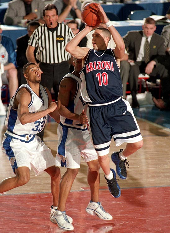 No fourth seed had ever won it all. Neither had any team from Arizona, or any squad coached by Lute Olson, whose Wildcats had a habit of first-round exits. But what did precedent matter to a team with four new starters, including freshman floor general Mike Bibby, who averaged 20.0 points, 6.0 rebounds and 4.3 assists in 'Zona's three wins over No. 1 seeds.