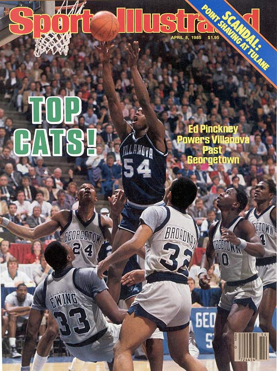 The 19-10 Wildcats just barely made the newly expanded field, and senior forward Ed Pinckney and Villanova were given virtually no chance against defending champion Georgetown. But thanks to lights-out shooting (78.6%, still a title-game record) and a matchup zone that confounded Hoyas center Patrick Ewing, the Wildcats became the lowest seed to win a title.