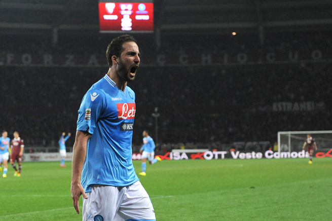 Gonzalo Higuain celebrates his crucial late game-winning goal for Napoli against Torino on Monday.