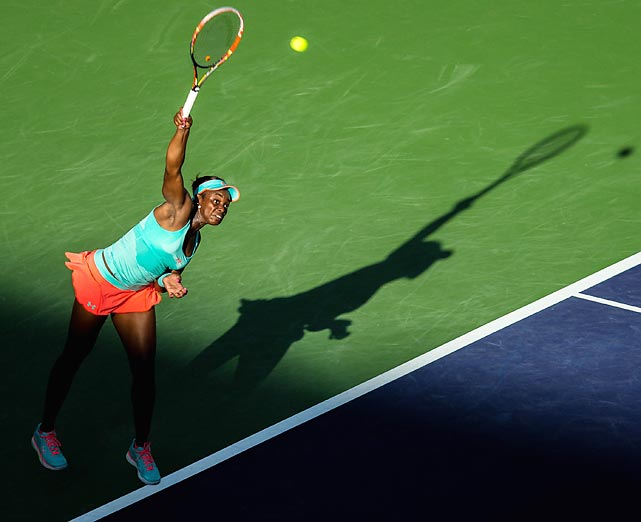 Sloane Stephens serves during her quarterfinal match against Flavia Pennetta of Italy during the BNP Paribas Open at the Indian Wells Tennis Garden. Pannetta topped Stephens 6-4, 5-7, 6-4.