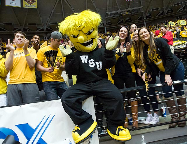"No other college mascot is supposed to represent ""a big, bad, muscle-bound bundle of wheat."" Also, the official bio on Wichita State's site says WuShock has been ""kidnapped and kicked out of games, and even starred in a movie."" So there's that."