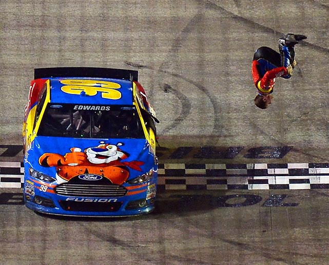 Carl Edwards does a backflip after winning the Food City 500 at Bristol on Sunday.