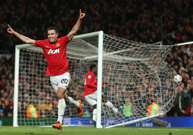 Robin van Persie played the hero on Wednesday, netting a hat trick in Manchester United's comeback victory over Olympiakos in the Champions League.