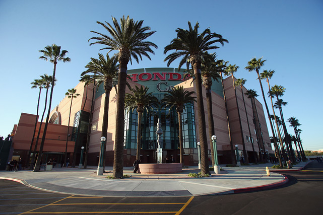 The Ducks' arena, shot in regular color, before a game against the Phoenix Coyotes in December 2013.