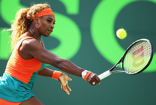 The top-ranked Serena Williams seeks a record seventh Key Biscayne title, and her second in a row.