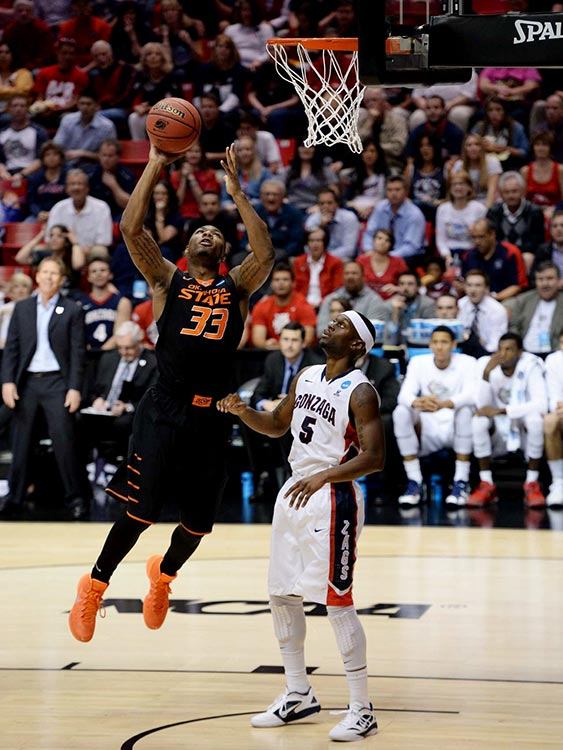 Marcus Smart led Oklahoma State in points (23), rebounds (13), assists (7) and steals (6), but it wasn't nearly enough to get the Cowboys beyond Gary Bell Jr. (5) and Gonzaga.