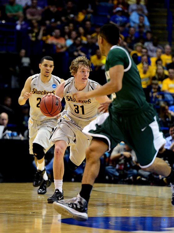 Ron Baker and Wichita State ran their unblemished record to 35-0 by turning back the Mustangs.