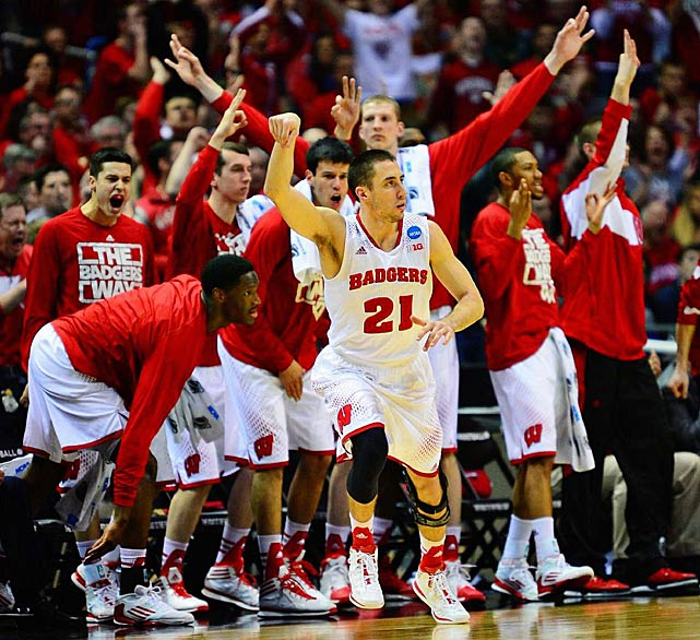 Josh Gasser made three of Wisconsin's 11 threes as the Badgers erased a 12-point halftime deficit.