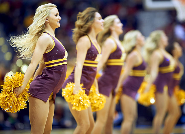 <italics>A collection of cheerleaders whose teams competed in the Midwest Region of the 2014 bracket.</italics>