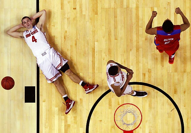 Ohio State's Aaron Craft reacts after losing to the Dayton Flyers 60-59 in the second round.