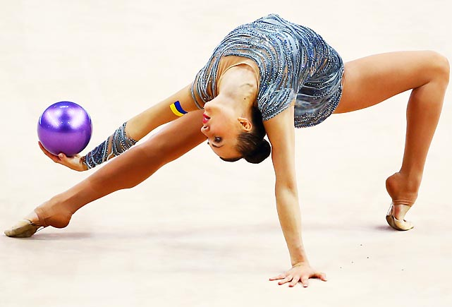 Ganna Rizatdinova of Ukraine performs during the individual ball final of the GAZPROM World Cup Rhythmic Gymnastics at the Porsche Arena in Stuttgart, Germany.