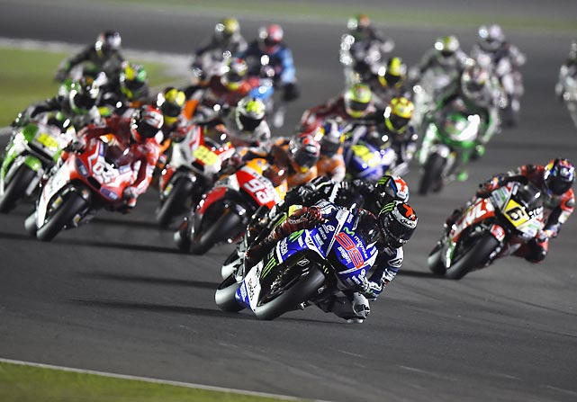 Jorge Lorenzo of Spain and Movistar Yamaha MotoGP leads the field during the race in Doha, Qatar.