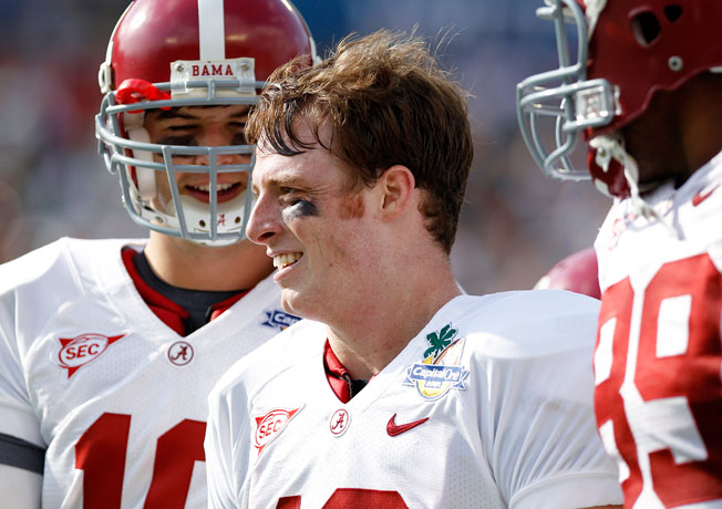 Former Alabama QB Greg McElroy (center) will work as an analyst on the soon-to-launch SEC Network.