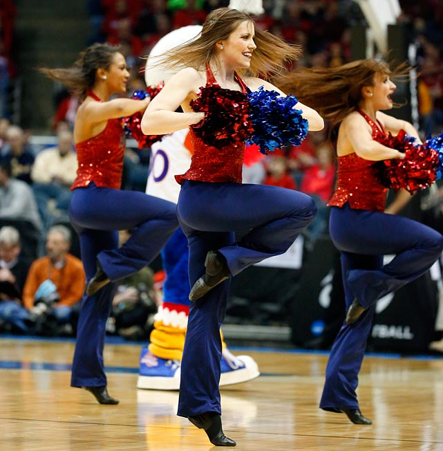 <italics>A collection of cheerleaders whose teams competed in the West Region of the 2014 bracket.</italics>