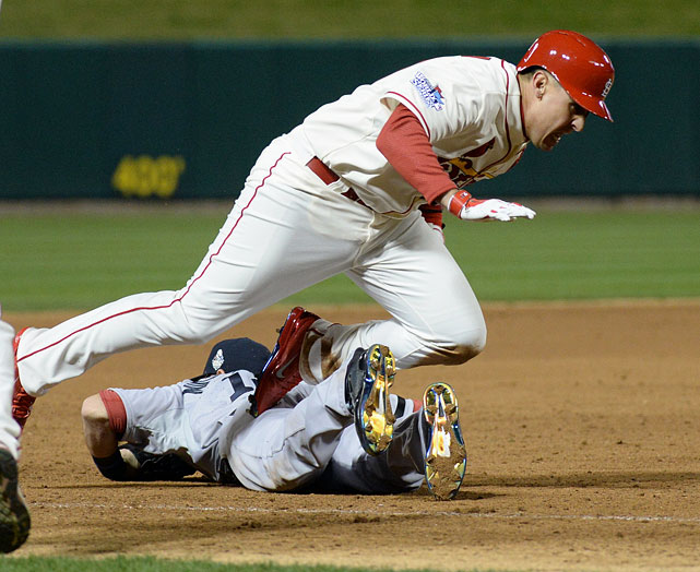 This rematch of last year's World Series marks the first match-up of defending league champions since the Phillies took two of three from the Yankees in June 2010. This Thursday night contest is the finale of the three-game set in St. Louis which should have implications for this year's playoff races, as well.