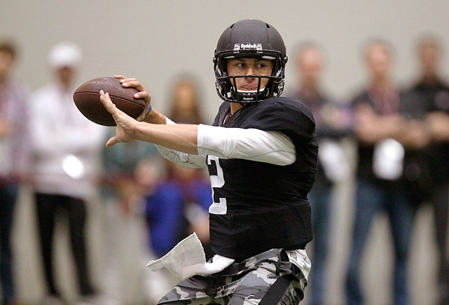 """It was a pro day like we've never seen before on March 27, 2014. Music from Drake filled Texas A&M's indoor facility as """"Johnny Football,"""" who has always scrambled to the beat of his own orchestra, did something no other draft-eligible quarterback has ever done ? he went through his group workout for NFL executives, coaches and scouts wearing helmet and shoulder pads."""