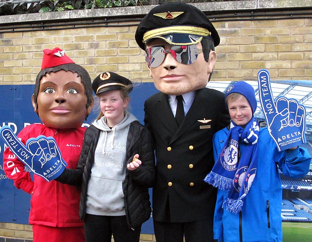 Like movies about gladiators? So do these young Chelsea partisans who posed with Delta Airlines personnel before a big battle with Arsenal at Stamford Bridge in London.