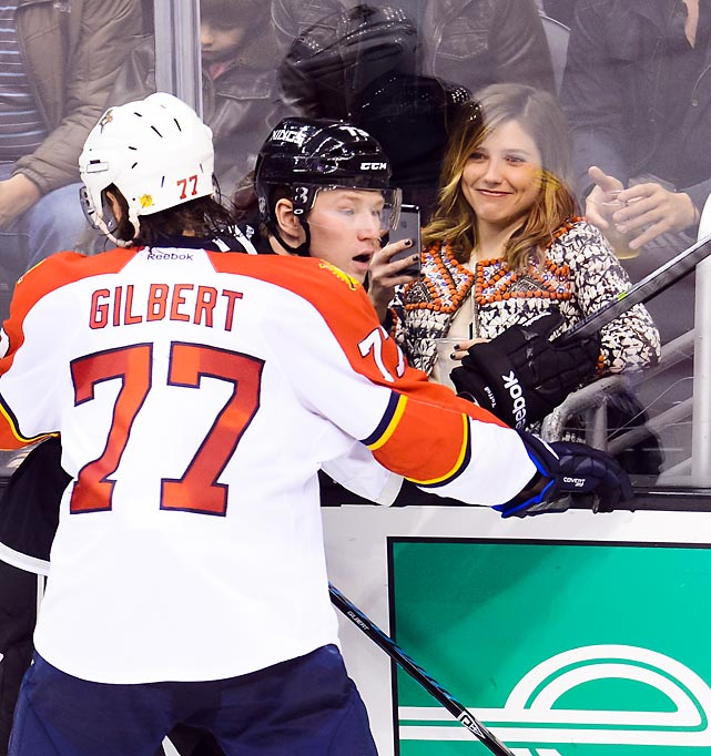 Check, please: Sports hernia-hobbled defenseman Tom Gilbert of the Florida Panthers gamely corralled a King for the benefit and amusement of the <italics>One Tree Hill</italics> star during an exciting NHL tilt at Staples Center in LA.