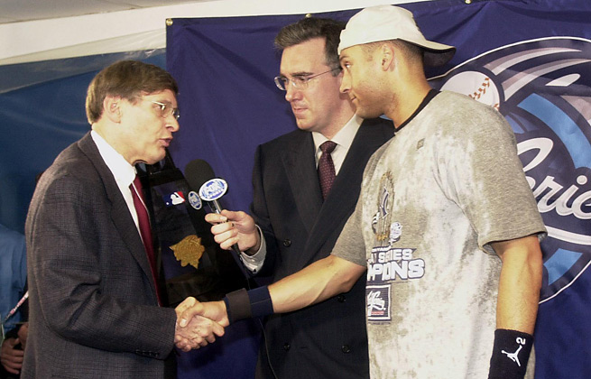 Bud Selig (left) has seen Derek Jeter win five World Series rings during his tenure as commissioner.