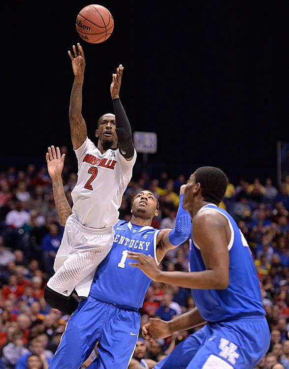 Russ Smith missed a game-tying three-point attempt with four seconds remaining. He finished with a game-high 23 points in the losing effort.