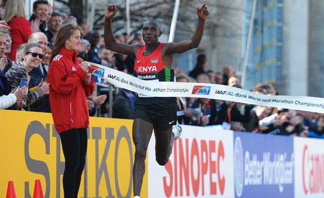 Geoffrey Kipsang Kamworor won the Men's World Half Marathon Championship with a time of 59:07.