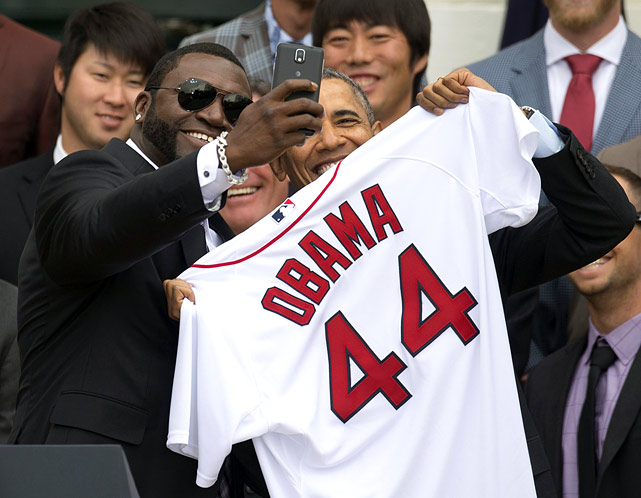"President Barack Obama welcomed the Boston Red Sox to the White House to honor their 2013 World Series championship on Tuesday April 1, 2014. ""Big Papi"" David Ortiz even took a selfie photo with the president and wasted no time tweeting it."