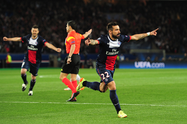 Ezequiel Lavezzi celebrates his early goal that got PSG on the board against Chelsea in their Champions League quarterfinal match on Wednesday.